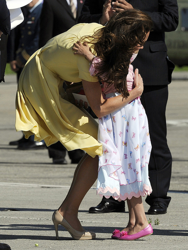 Kate Middleton gave a girl a sweet hug.