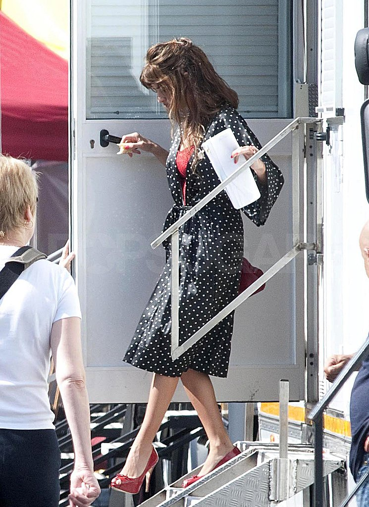 Penelope Cruz stepped out of her trailer.