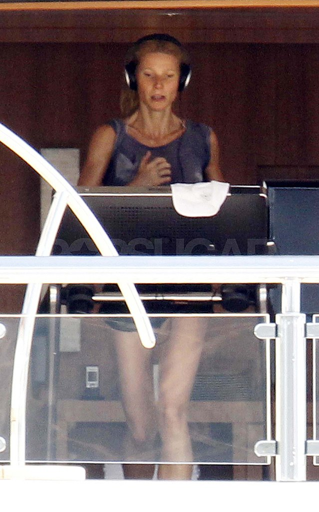 Gwyneth Paltrow jogging on a yacht.