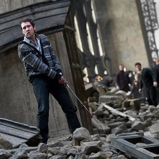 Neville Longbottom wielding his big sword in Harry Potter and the Deathly Hallows Part 2.