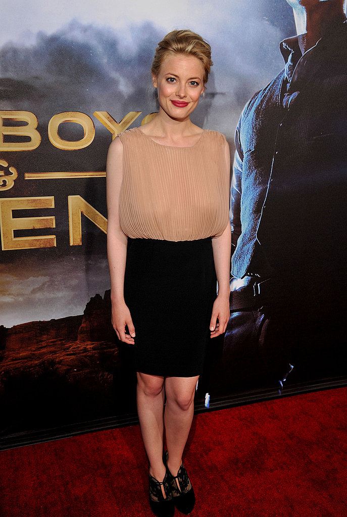 Gillian Jacobs mixed nude and black for her entrance.