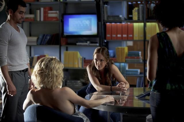 Ramon Rodriguez, Rachael Taylor, and Minka Kelly in ABC&#039;s Charlie Angels.