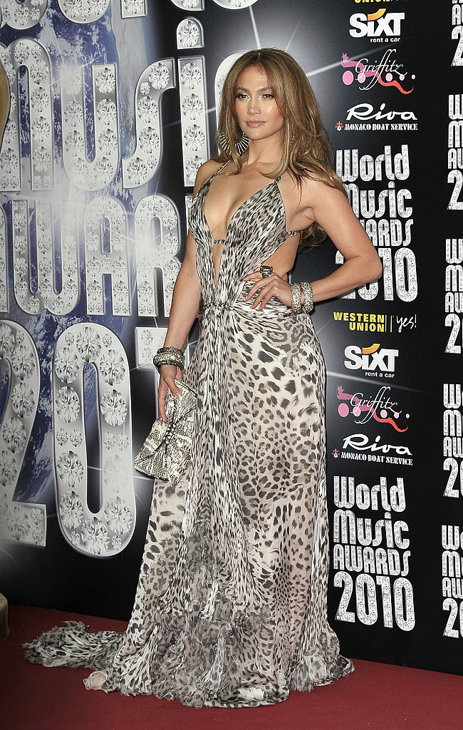 Bold animal print and cutouts in Roberto Cavalli at the 2010 World Music Awards.