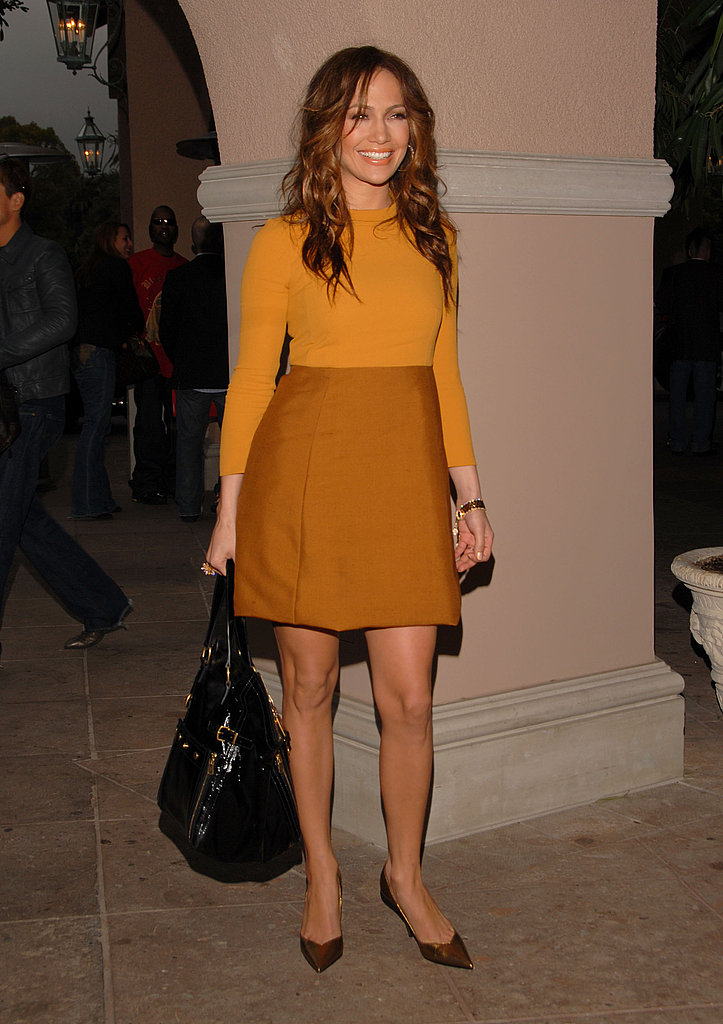 Channeling '60s sophistication in a colorblocked mini at an event in '07.