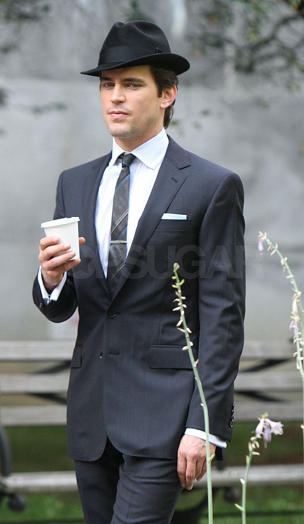Matthew Bomer suited up for new scenes.