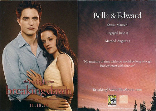 Edward and Bella's Breaking Dawn Promotional Card Now bigger