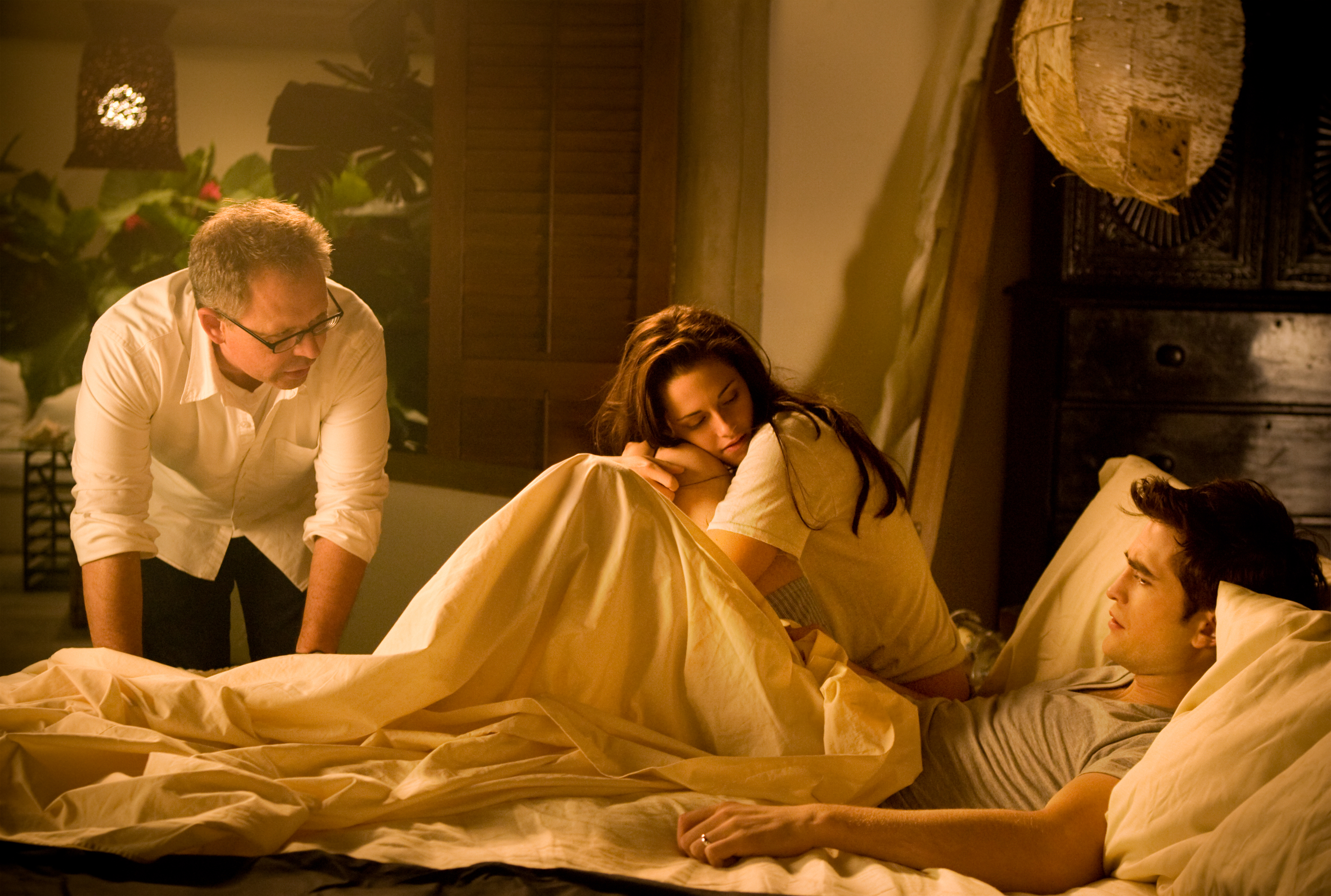 Bella and Edward hold hands in bed.