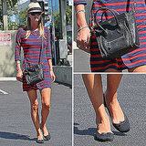 Nicky Hilton Wearing Express Striped Dress