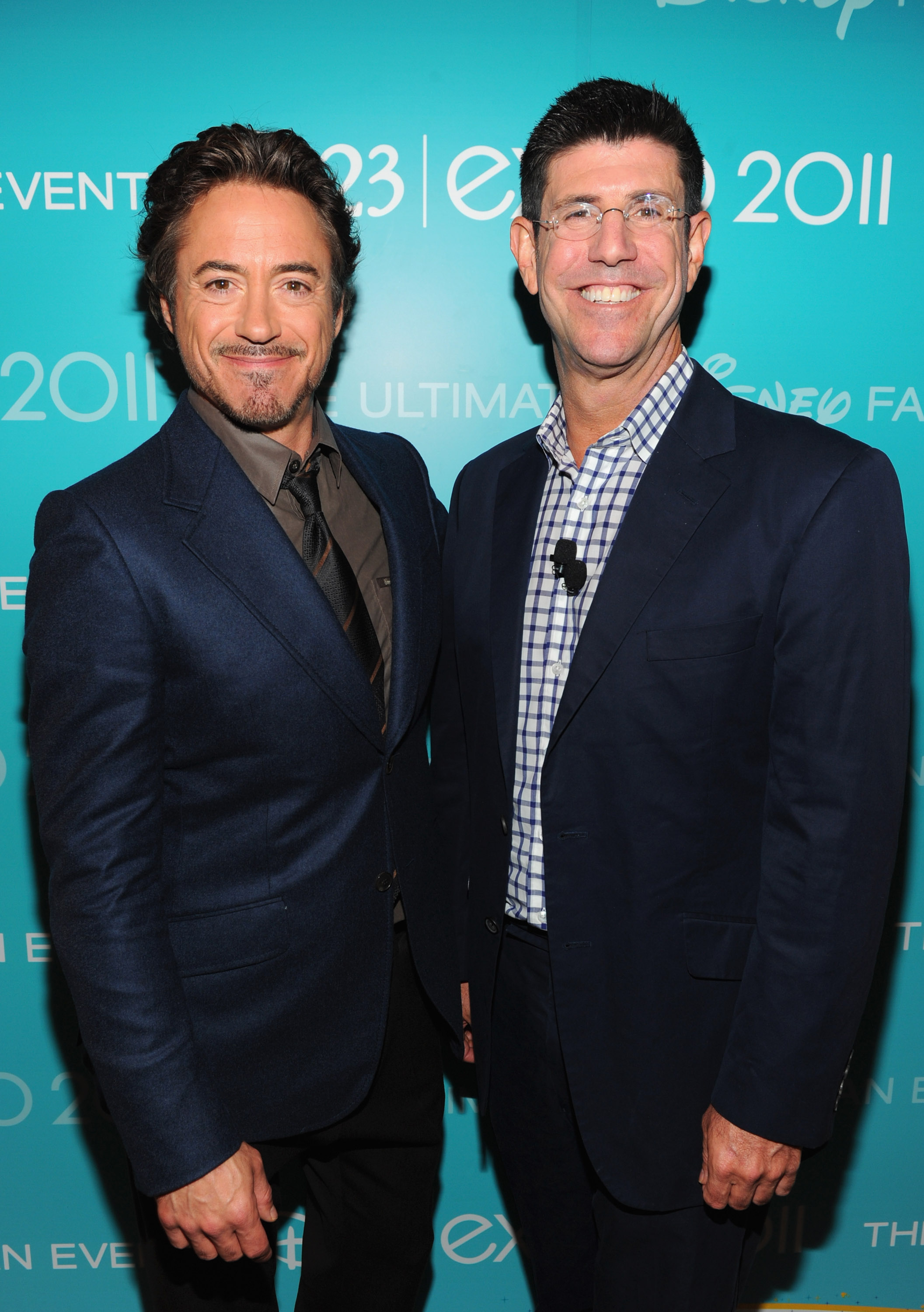 Robert Downey Jr. caught up with Disney Chairman Rich Ross backstage.