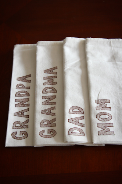 Napkin Notes and Place Cards