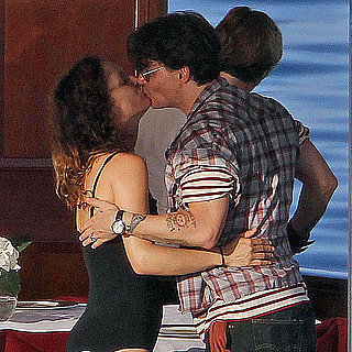 Pictures of Johnny Depp and Vanessa Paradis Kissing on a Boat