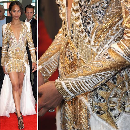 Zoe Saldana Wears Balmain Dress to Colombiana Screening 2011-08-23 09:17:50