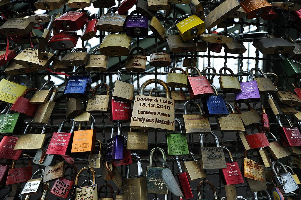 Love locks on a bridge in Germany.