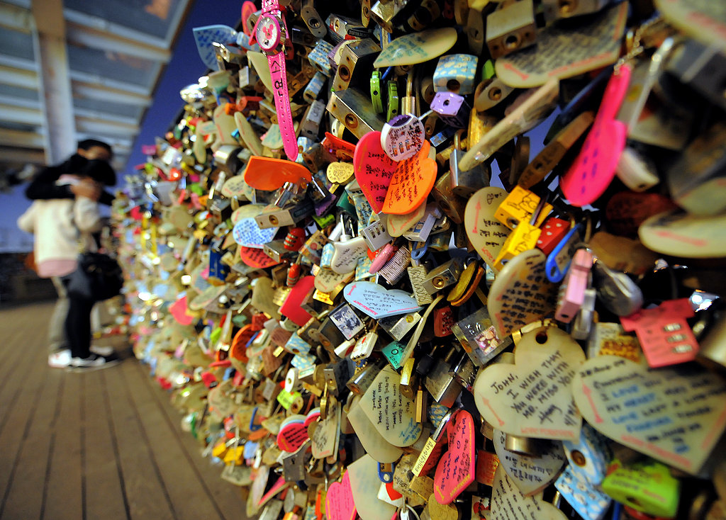 Love padlocks on the N Seoul Tower on the top of Nam mountain in Seoul, South Korea.