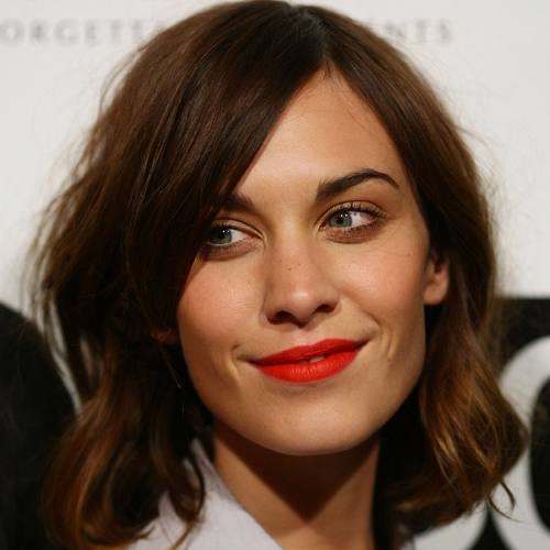 Alexa Chung Has a Gorgeous Red Lipstick Trick