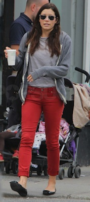 Jessica Biel in Red Paige Jeggings