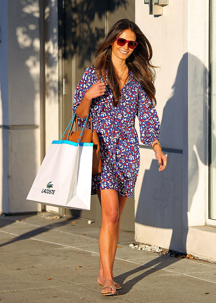Jordana Brewster ran errands in LA in a sweet printed dress and red sunnies.