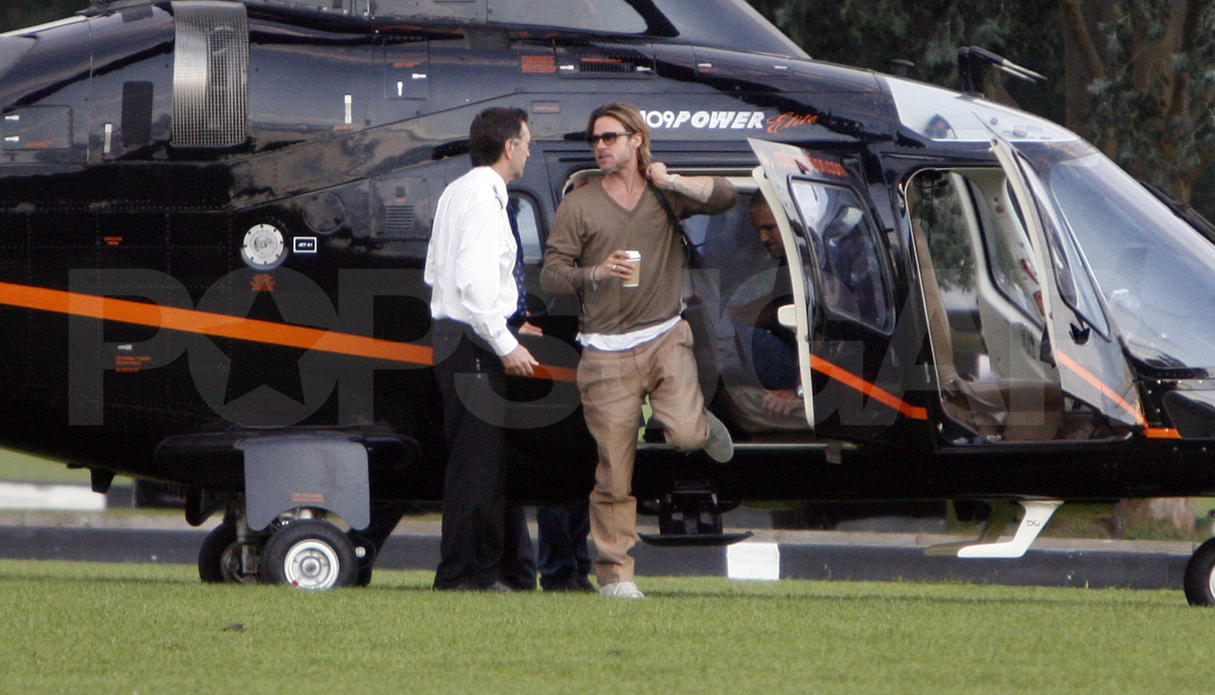Brad Pitt in a helicopter.