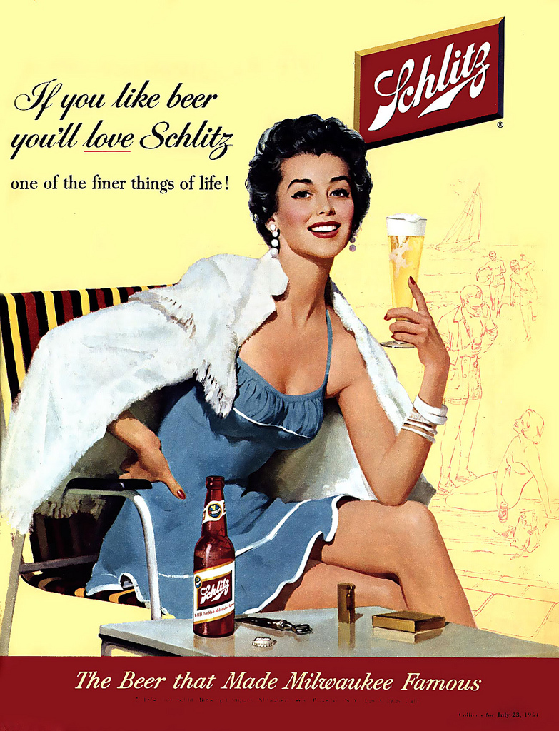 This 1954 ad says Schlitz is the beer that made Milwaukee famous, and hopefully it will make you look this glamorous in a swimsuit, too!