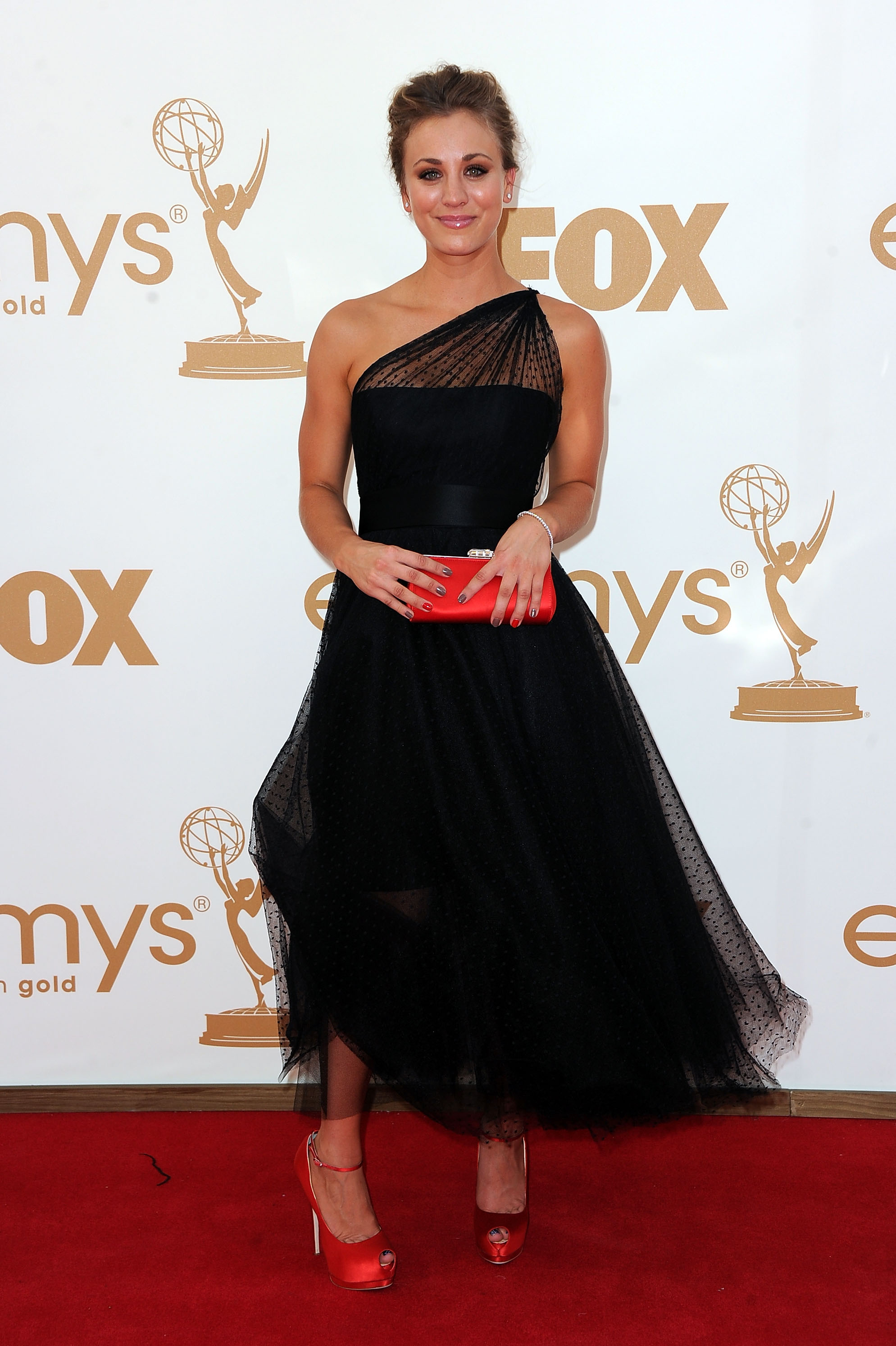 Kaley Cuoco at the 2011 Emmys.