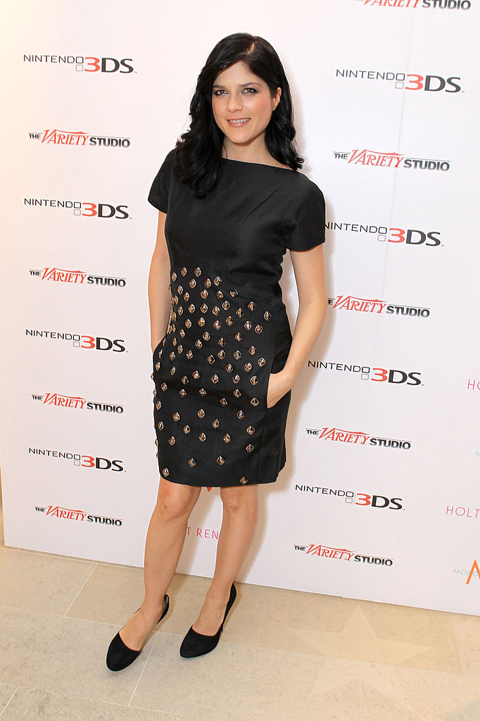 Selma Blair went for an understated chic look in a little black embellished sheath.