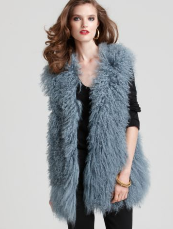 This decadent blue vest is on our wish list. We can already picture it layered over a black wool coat, maxi dresses, skinny jeans . . . and just about everything else in our wardrobe.  Diane Von Furstenberg Mongolia Fur Vest ($875)