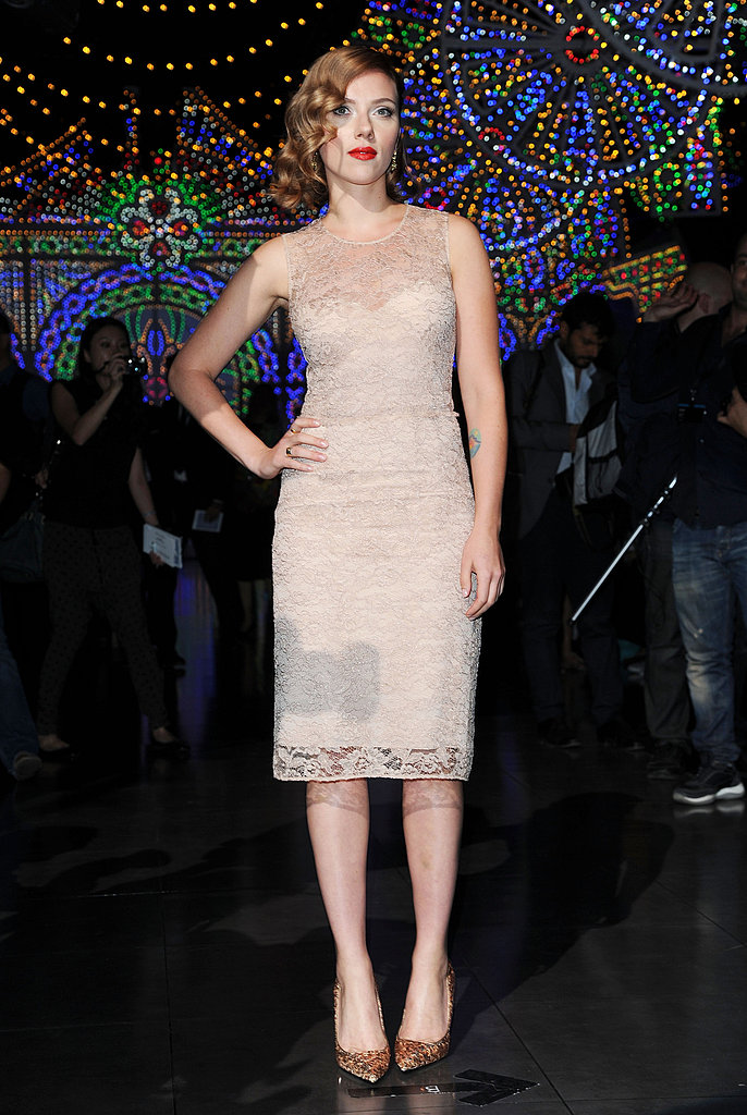 Scarlett Johansson stepped out in a blush colored lace dress.