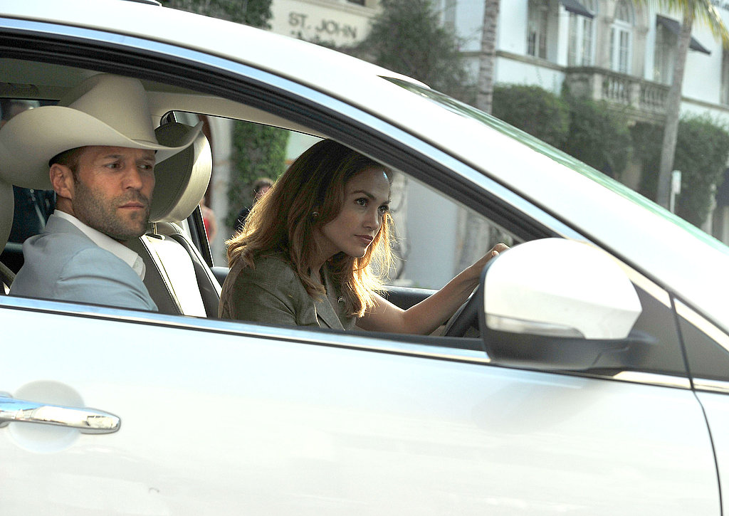 Jennifer Lopez had Jason Statham in the passenger's seat on set.