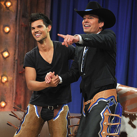 Taylor Lautner on Late Night With Jimmy Fallon Riding a Bull Pictures