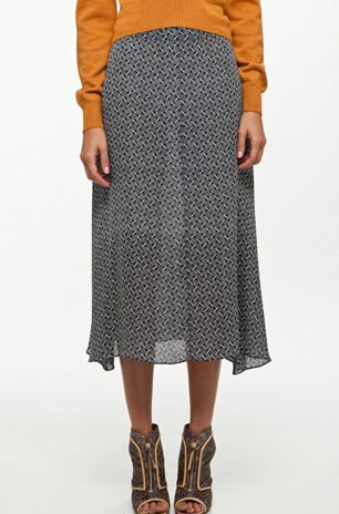 A fresh print in a sheer fabric makes this one just a little edgier than its tea-length silhouette makes it out to be. Rachel Comey Posey Skirt ($363)