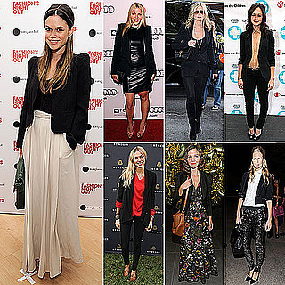 Pictures of Celebrities Wearing Black Blazers and Jackets: Rachel Bilson, Jessica Hart and Poppy Delevingne Wear the Trend: