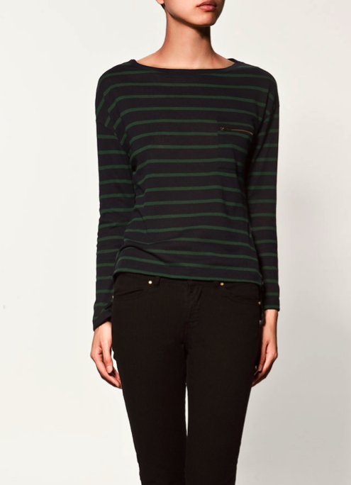 We still have a thing for stripes for Fall, but this time in deeper blues and classic hunter green. Zara Striped Jumper With Zips ($30)