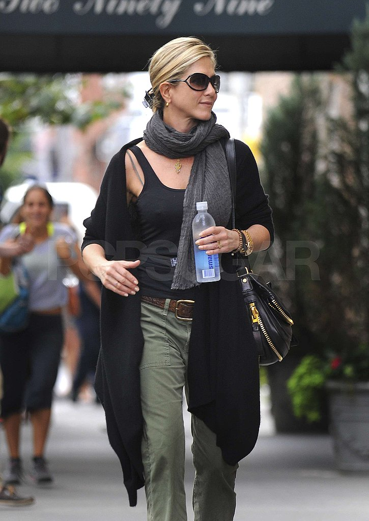 Jennifer Aniston wore layers in NYC.