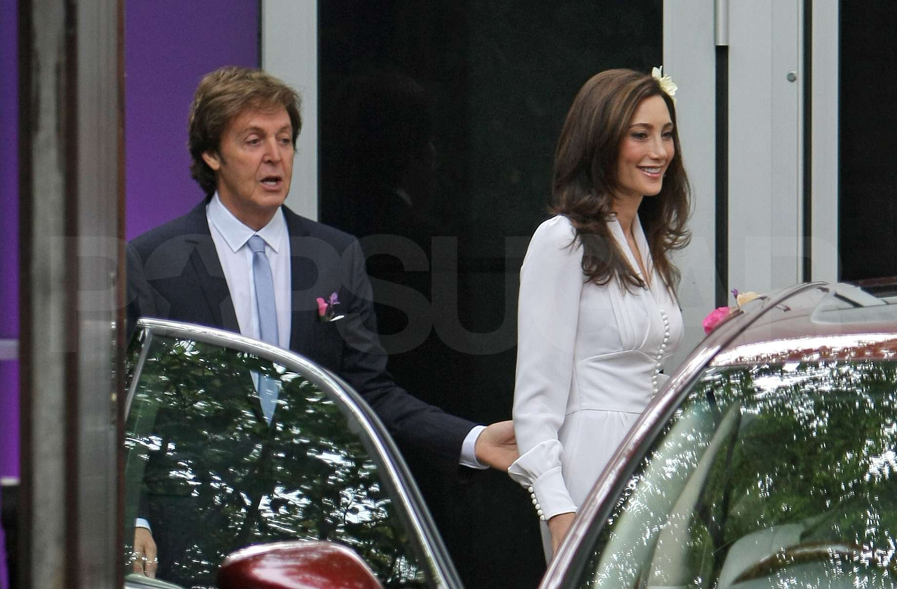 Paul and his wife Nancy stepped out after their wedding.