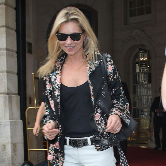Kate Moss Leaving the Ritz in Paris in White Jeans Pictures