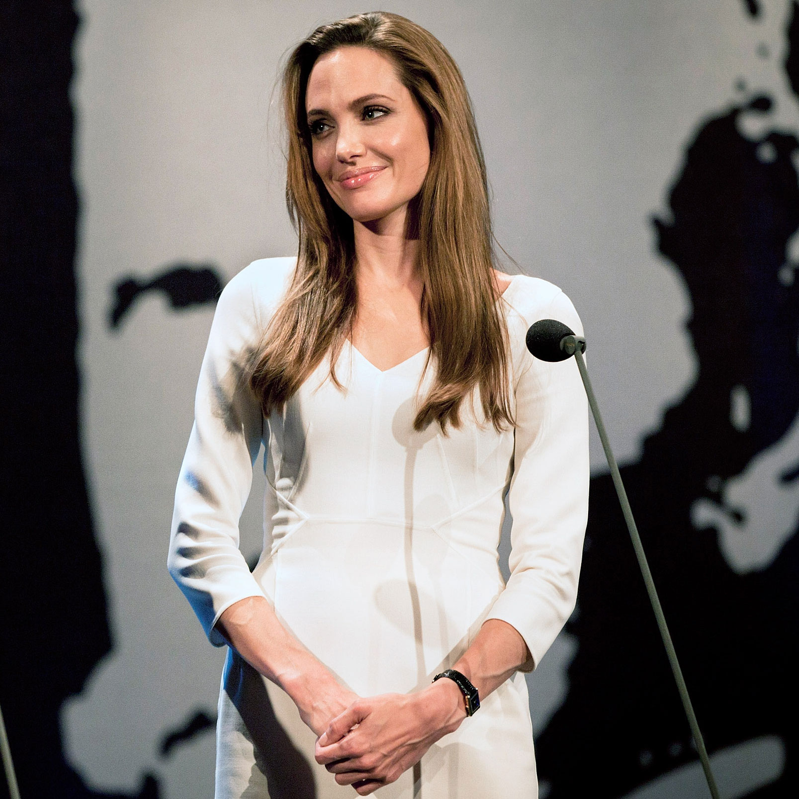 Angelina Jolie in white dress in Switzerland.
