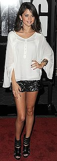 Selena Gomez in Sequin Forever 21 Shorts and Cage Booties