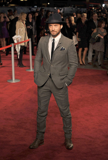 Jude Law wears a hat to the premiere of 360 in London.