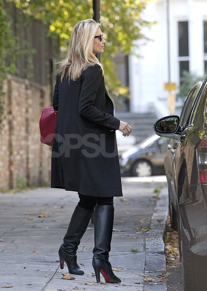 Kate Moss headed to a yoga studio in London.