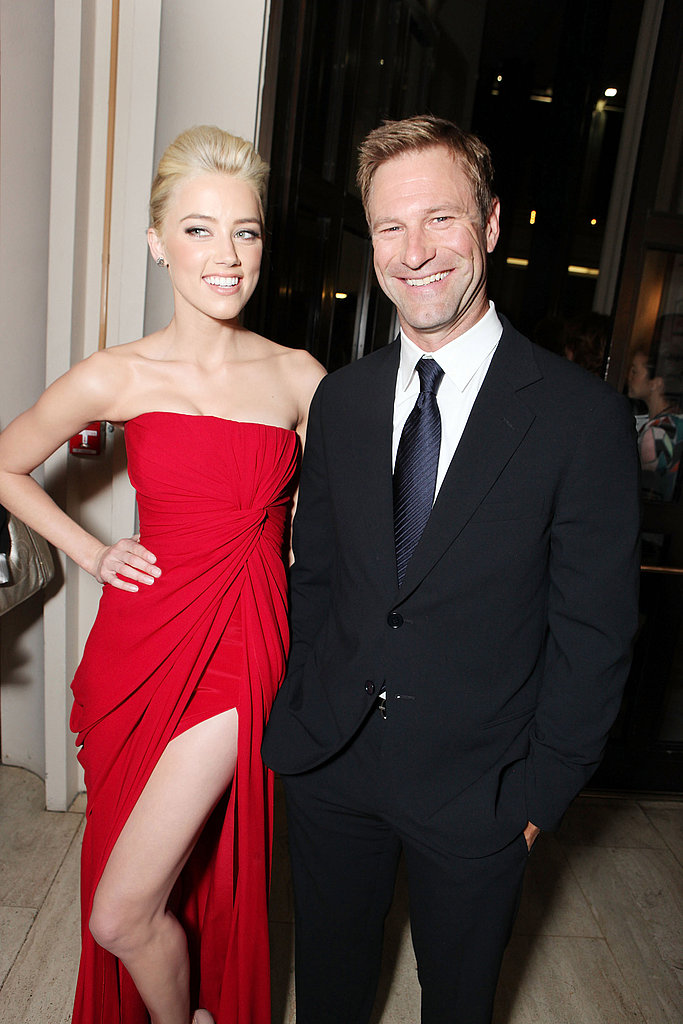 Amber Heard and Aaron Eckhart hung out at a movie premiere in LA.