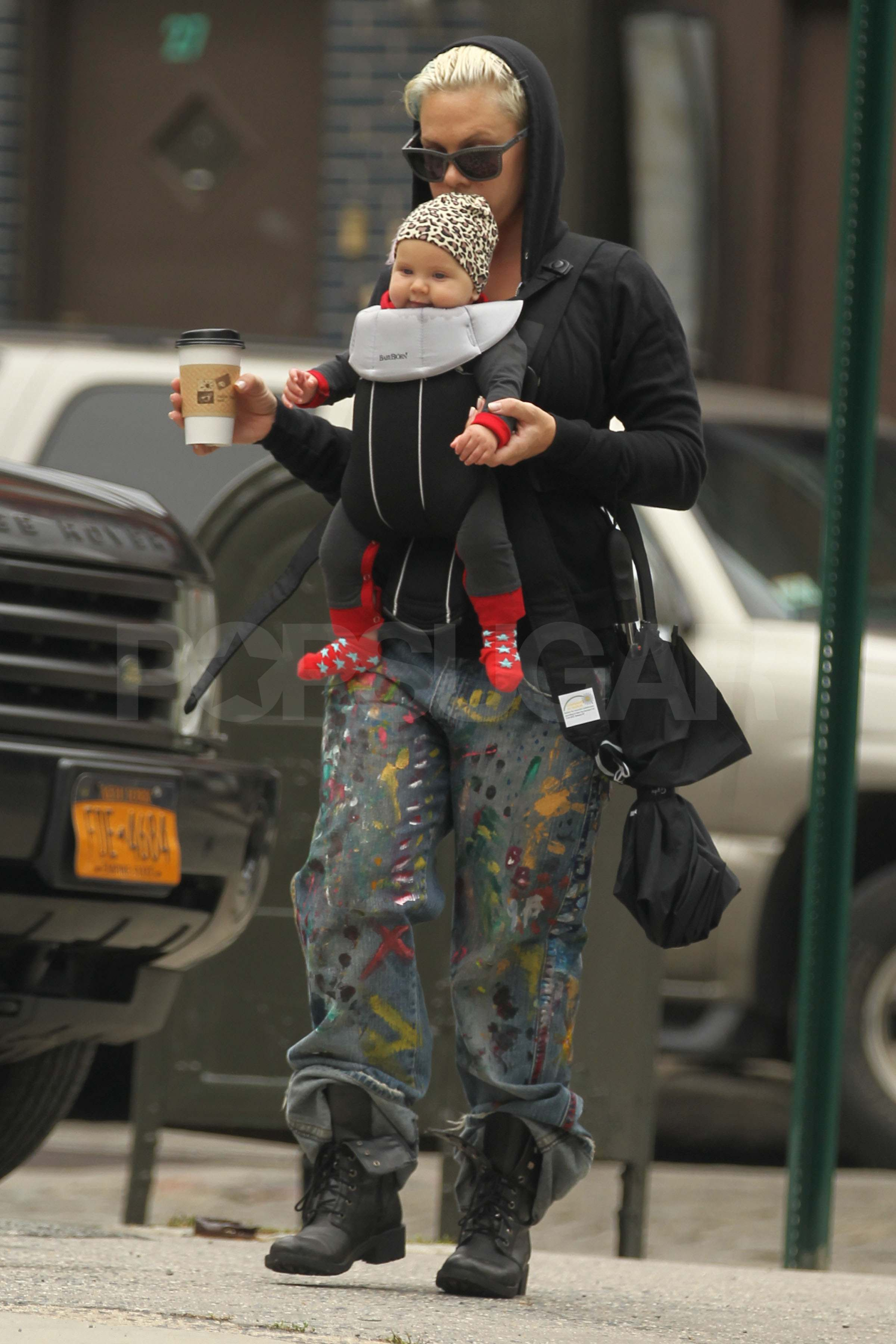 Pink brings baby Willow Hart to NYC.