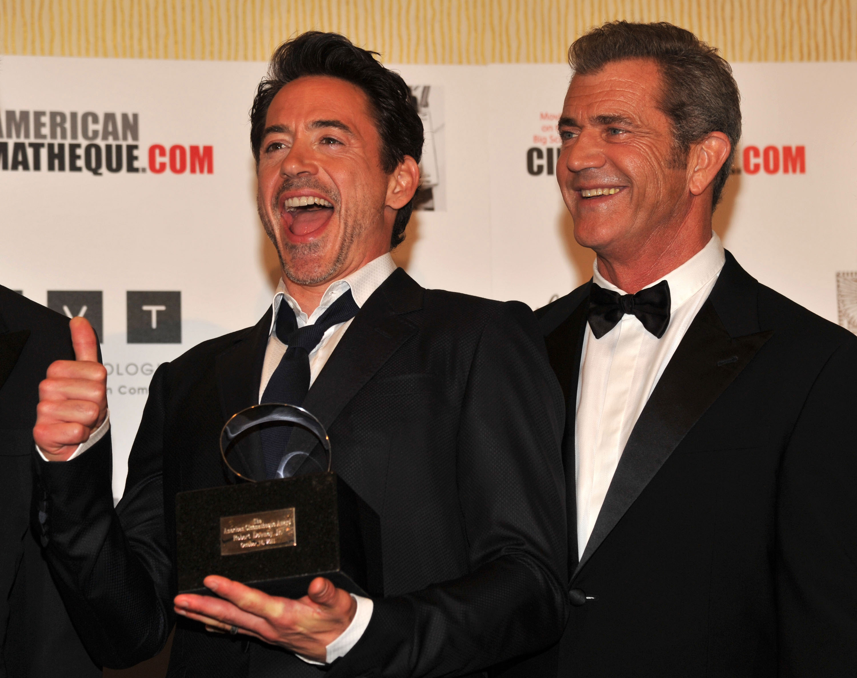 Mel Gibson was on hand to celebrate his pal RDJ.