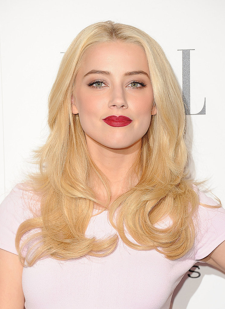 Amber Heard wore a bold lip to an event for Elle.