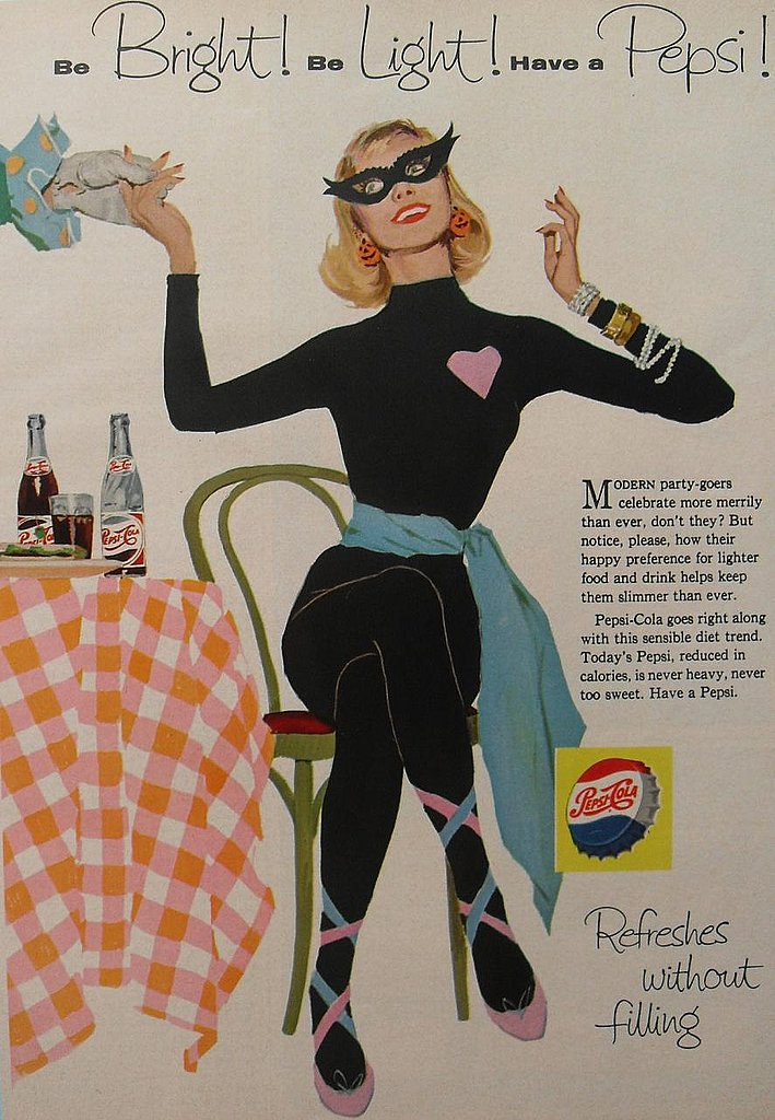 More diet tips from vintage ads: Want to look this fabulous in a skintight leotard this Halloween? Have sugary carbonated soda!