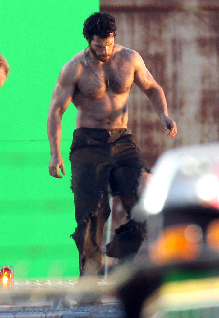 Henry Cavill was shirtless on the set of Man of Steel in Vancouver.