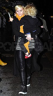 Ashlee Simpson in Striped Tee With High-Top Converse