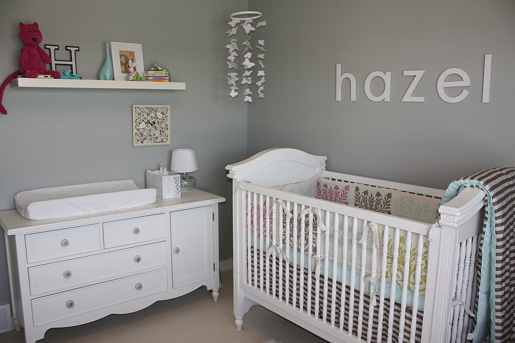 gray and white chic nursery go gray 5 gray nurseries to swoon over popsugar moms. Black Bedroom Furniture Sets. Home Design Ideas