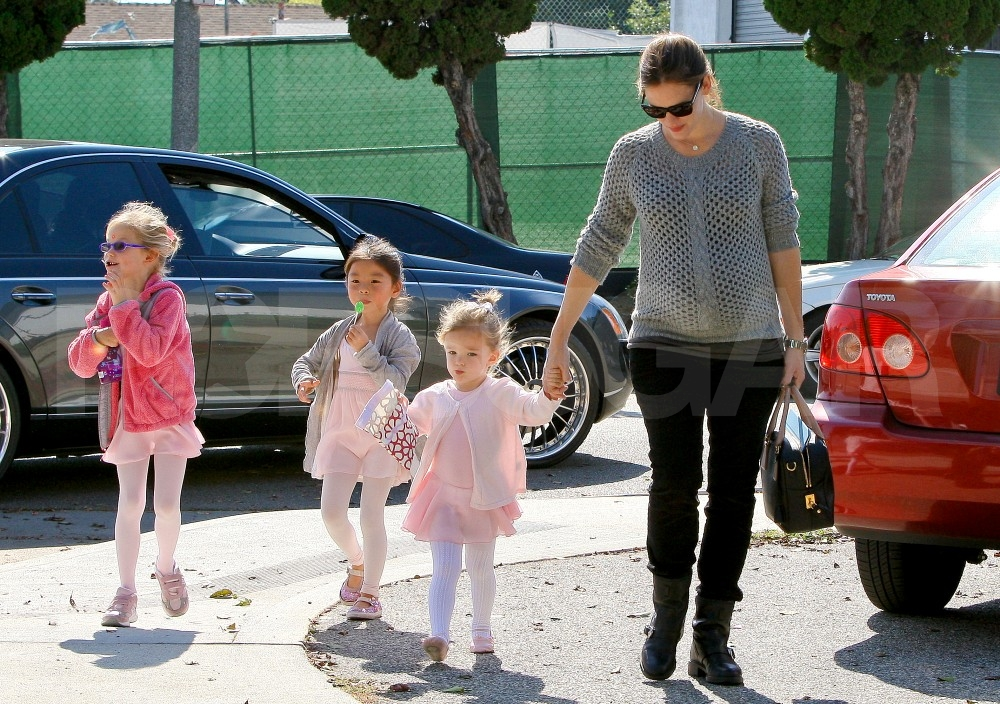 Violet and Seraphina Affleck in their ballet ensembles.