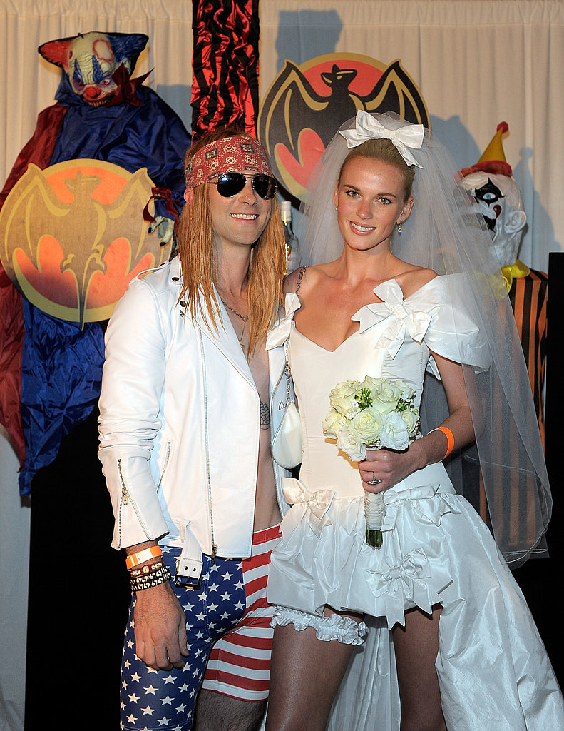 Adam Levine and Anne Vyalitsyna dressed up as a rock star wedding couple for Halloween.
