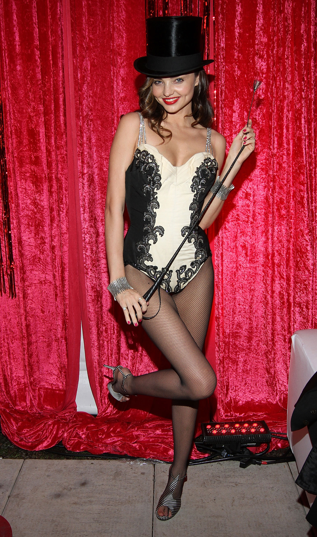 Miranda Kerr wore a lace unitard for Halloween.